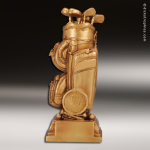 Premium Resin Gold Sports Theme Golf Bag Trophy Award Premium Gold Resin Trophies