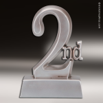 Premium Resin Silver 2nd Place Trophy Award Premium Silver Resin Trophies