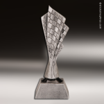 Premium Resin Silver Motor Sports Crossed Checkered Flags Trophy Award Premium Silver Resin Trophies