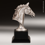 Premium Resin Silver Equestrian Sculpture Horse Head Trophy Award Premium Silver Resin Trophies