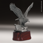 Premium Resin Silver American Eagle with Flag Trophy Award Premium Silver Resin Trophies