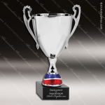 Cup Trophy Premium Silver Body Red And Blue Accented Loving Cup Award Premium Silver Series Cup Trophy Awards
