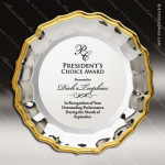Engraved Presentation  Tray Platter Plate Gold Round Lipped Trophy Award Presentation Tray Awards