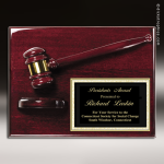 Rosewood Plaque Gavel Pinnacle Edge Black Plate Engraved Wall Plaque Award Presidents Gavel Plaques