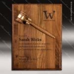 Engraved Walnut Plaque Gavel Mount Removable Etched Wall Plaque Award Presidents Gavel Plaques