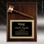 Engraved Walnut Plaque Gavel Mounted Black Plate Wall Plaque Award Presidents Gavel Plaques