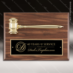 Engraved Faux Walnut Plaque Gavel Mounted Black Shield Plate Wall Plaque Presidents Gavel Plaques
