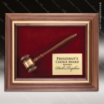 Engraved Walnut Framed Plaque Gavel Gold Plate Wall Plaque Award Presidents Gavel Plaques