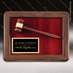Engraved Walnut Framed Plaque Gavel Black Plate Wall Plaque Award Presidents Gavel Plaques