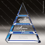 Crystal Blue Accented Tiered Pyramid Trophy Award Pyramid Shaped Crystal Awards