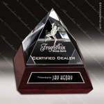 Crystal Wood Accented Optic Mariposa Pyramid Trophy Award Pyramid Shaped Crystal Awards