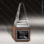 Crystal Wood Accented Obelisk Pyramid Jewels Trophy Award Pyramid Shaped Crystal Awards
