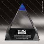 Crystal Blue Accented Pyramid Blue Majestic Trophy Award Pyramid Shaped Crystal Awards