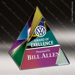 Crystal Color Accented Pyramid Paperweight Trophy Award Pyramid Shaped Crystal Awards