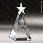 Crystal  Silver Star Show Time Trophy Award Pyramid Shaped Crystal Awards