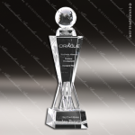 Crystal  Globe on Victory Tower Trophy Award Pyramid Shaped Crystal Awards