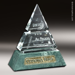 Crystal Green Marble Accented Vandalia Pyramid Trophy Award Pyramid Shaped Crystal Awards