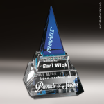 Crystal Blue Accented Apex Pyramid Trophy Award Pyramid Shaped Crystal Awards