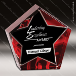 Acrylic Red Accented Velvet Star Trophy Award Red Accented Acrylic Awards