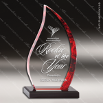 Acrylic Red Accented Flame Series Trophy Award Red Accented Acrylic Awards