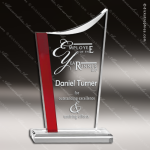 Acrylic Red Accented Elegant Arch Swoop Top Trophy Award Red Accented Acrylic Awards