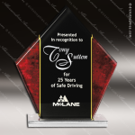 Acrylic Red Accented Diamond Marble Peak Trophy Award Red Accented Acrylic Awards
