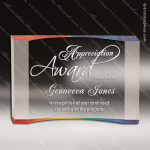 Acrylic Rainbow Accented Curve Crescent Trophy Award Red Accented Acrylic Awards