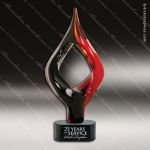 Artistic Red Accented Jennie Warp Art Glass Black Twisted Trophy Award. Red Accented Artisitc Awards