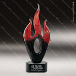Artistic Red Accented Jeanne Flame Art Glass Sculpture Flame Trophy Award Red Accented Artisitc Awards