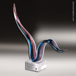 Artistic Multi-Colored Red Accented Art Glass Sculpture Trophy Award Red Accented Artisitc Awards