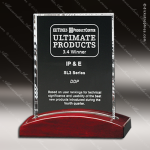 Crystal Rosewood Accented Parkdale Rectangle Trophy Award Red Accented Crystal Awards