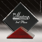 Crystal Rosewood Accented Parkdale Square Trophy Award Red Accented Crystal Awards