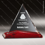 Crystal Rosewood Accented Parkdale Triangle Trophy Award Red Accented Crystal Awards