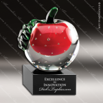 Crystal Red Accented Apple Green Leaf Trophy Award Red Accented Crystal Awards