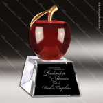 Crystal Red Accented 3D Apple Trophy Award Red Accented Crystal Awards