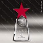 Crystal Red Accented Star Pillar Tower Trophy Award Red Accented Crystal Awards