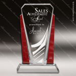 Crystal Red Accented Rectangle Bethesda Trophy Award Red Accented Crystal Awards