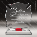 Crystal Red Accented Fireman Maltese Crystal Cross Trophy Award Red Accented Crystal Awards