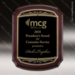 Engraved Rosewood Plaque Black Plate Gold Notched Border Wall Placard Award Religious Awards