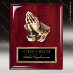 Engraved Rosewood Plaque Cast Praying Hands Religion Wall Placard Award Religious Awards