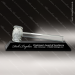 Crystal Black Accented Gavel Engraved President Award Retirement Trophy Awards