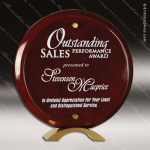 Acrylic  Rosewood Accented Piano Finish Round Circle Standup Trophy Award Rosewood Accented Acrylic Awards