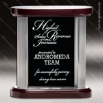 Tacloban Tower Glass Rosewood Accented Rectangle Panel Trophy Award Rosewood Accented Glass Awards