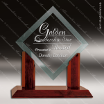 Jackson Angle Glass Rosewood Accented Royal Diamond Jade Square Trophy Rosewood Accented Glass Awards