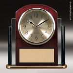 Desk Gift Rosewood Glass Gold Accented Clock Award Rosewood Finish Clocks