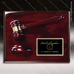 Engraved Rosewood Plaque Gavel Mounted Black Plate Wall Plaque Award Rosewood Gavel Plaque