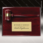 Engraved Rosewood Plaque Gavel Mounted Gold Plate Wall Plaque Award Rosewood Gavel Plaque