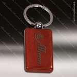 Laser Etched Engraved Keychain Rosewood Rectangle Silver Gift Award Rosewood Keychains