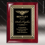 Engraved Rosewood Plaque Black Plate Embossed Gold Border Rosewood Piano Finish Plaques