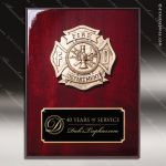 Engraved Rosewood Plaque Cast Fire Department Emblem Award Rosewood Piano Finish Plaques
